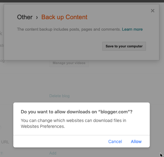 Click on the backup button, and confirm in the backup modal